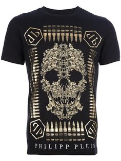 Philipp Plein - bullet skull print t-shirt Juniors Graphic Tees, Polo Shirt Outfits, Womens Fashion Stores, Great T Shirts, Sweater Shirt, Swagg, Trends, Models, Printed Shirts