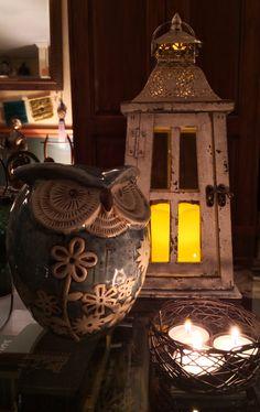 Lantern, bird's nest tea light holder and ceramic owl decor at Michaels.