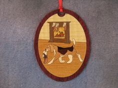 Wood Inlay Christmas Ornament - Beagle by EzMarquetry on Etsy