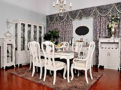 french country dining room tables with nice curtains