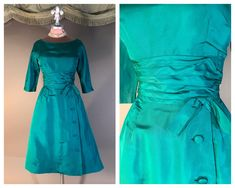 f7e9f8dc0c 1950s dress vintage 50s EMERALD GREEN matte taffeta button detailed full  skirt cocktail party dress by