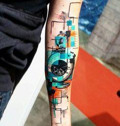 Photo - Perfect 3 colors abstract tattoo style of Pocket Watch motive done by tattoo artist Dynoz Art Attack Life Tattoos, Body Art Tattoos, Hand Tattoos, Tatoos, Arm Sleeve Tattoos, Forearm Tattoos, Watercolour Tattoo Men, Tattoo Hurt, Tattoo Ink
