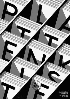 Plattenkiste Poster on Behance Graphic Design Posters, Graphic Design Typography, Graphic Design Illustration, Logo Design, Design Design, Typo Poster, Typographic Poster, 3d Poster, Print Layout