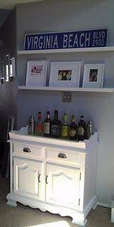 my refinished dry sink for use as a serving bar, made shelves DIY (like Ikea Ribba shelf