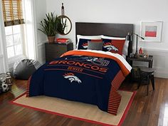 """Denver Broncos - 3 Piece FULL / QUEEN Size Printed Comforter Set - Entire Set Includes: 1 Full / Queen Comforter (86"""" x 86"""") & 2 Pillow Shams - NFL Football Bedding Bedroom Accessories  https://allstarsportsfan.com/product/denver-broncos-3-piece-full-queen-size-printed-comforter-set-entire-set-includes-1-full-queen-comforter-86-x-86-2-pillow-shams-nfl-football-bedding-bedroom-accessories/  1 Comforter – Full / Queen Size – 86 x 86 2 Pillow Shams 100% Polyester"""