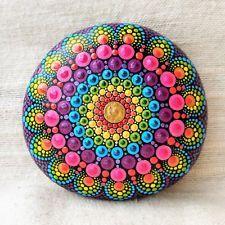 Mandala stone rainbow chakra healing hand painted dot art boho spiritual gift