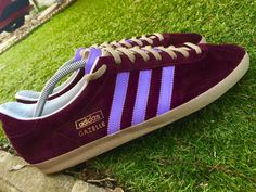 Another Carl Denys Jones' masterpiece - custom Gazelles in Burgundy/Lilac with Oatmeal laces and sole - see other pins to read the full story of how the adi-master went about their transformation...