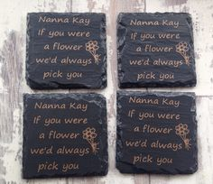 Have any message written on the coasters. They come wrapped in a lace bow. Visit my etsy store for more information. Lace Bows, Drink Coasters, Slate, Etsy Store, Barware, Birthday Gifts, Wedding Flowers, Messages, Writing