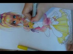 Drawing with copic markers - girl and Kitten