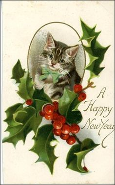 Free Vintage New Year Cards - Vintage Holiday Crafts Vintage Christmas Images, Noel Christmas, Christmas Clipart, Victorian Christmas, Christmas Animals, Retro Christmas, Vintage Holiday, Christmas Cats, Christmas Pictures