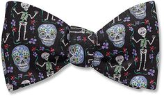 Calavera bow tie - Day of the Dead skulls and skeletons on black pictorial - handmade by Beau Ties Ltd. of Vermont.