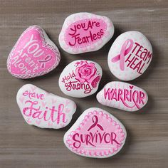 Easy Painted Rocks That Are Fun to Make & Tips! - Mod Podge Rocks Promote random acts of kindness with beautiful painted rocks! Get inspired by these 10 projects. How will you decorate your rocks to be found? Rock Painting Patterns, Rock Painting Ideas Easy, Rock Painting Designs, Paint Ideas, Sharpies, Breast Cancer Crafts, Breast Cancer Art, Breast Cancer Wreath, Painted Rocks Kids