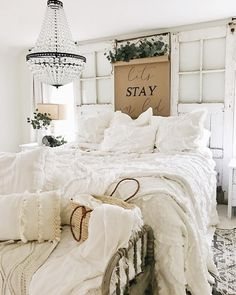 Beautiful neutral master  bedroom with rustic farmhouse style decor