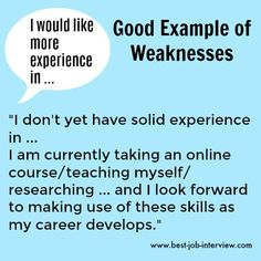 Good example of weaknesses - lack of a technical skill Job Interview Answers, Job Interview Preparation, Job Interview Tips, Job Interviews, Resume Skills, Job Resume, Resume Tips, Resume Examples, Job Cover Letter