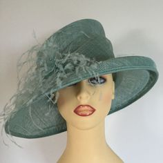 Ladies Wedding Hat Races Mother Bride Ascot Hat Mint Green By Gold NEW