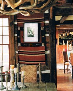 Ikat Rug Navajo rug wall hanging with photo frame