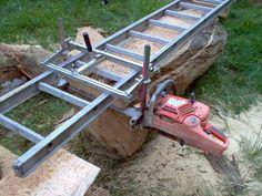Resultado de imagen para how to make a chainsaw mill Homemade Chainsaw Mill, Portable Chainsaw Mill, Portable Saw Mill, Lumber Mill, Wood Mill, Cool Woodworking Projects, Diy Woodworking, Chainsaw Mill Plans, Best Random Orbital Sander