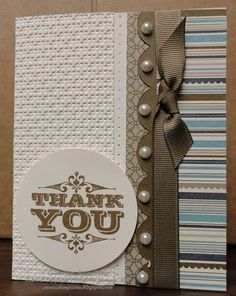 """Stamp Sets: Engraved Greetings  Ink: Soft Suede  Paper: Soft Suede, Very Vanilla, Elegant Soiree Designer Series Paper  Accessories: Soft Suede Polka Dot Grosgrain Ribbon, Self Adhesive Pearls, Stampin' Dimensionals  Tools: Square Lattice Texture Impressions Folder, Big Shot, 2 ½"""" circle punch, Tasteful Trim Sizzex, Mat Pack, Paper Piercer"""