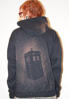 TARDIS Hoodie - bleach stencil. On a black zip front hoodie