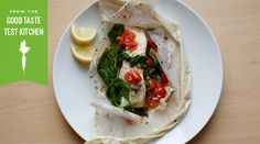 "Sea Bass and ""Salad"" in Parchment. Recipe comes with a grocery list & estimated cost. 