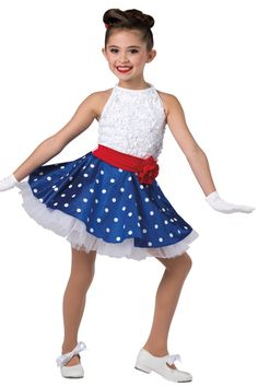 Style#  17158 AMERICA'S SWEETHEART  White sequined floral mesh and white spandex halter leotard with attached red spandex belt and polka dot printed royal sateen skirt. Attached white chiffon ruffled underskirt. Flower trim. Headpiece included. XSC-XXLA G11-Short white gloves, optional.
