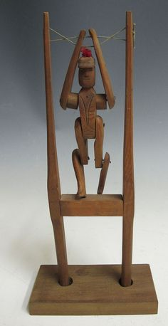 Antique Early 1900s Carved Wood Figural Acrobat Flip Toy Sculpture Folk Art  yqz #NaivePrimitive