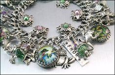 Frog Jewelry, Silver Charm Bracelet, Frogs Charm Bracelet, The Enchanted Frog. $97.00, via Etsy.