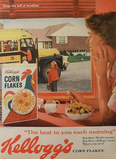 1961 Kelloggs CORN FLAKES vintage advertisement cereal vintage illustration 2 by Christian Montone, via Flickr. HUbby's FAVE