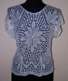Sweater In Lace Knitting - Sternblatt Top 1 - Two way top (can be worn with V-Neck at front or Boat Neck at front).  Lace weight linen.