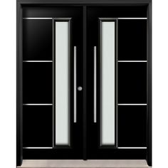 Buy online double entry fiberglass door from Thermoluxe contemporary collection with horizontal stainless steel lines on top of the door and a rectangular glass insert - model Black Exterior Doors, Custom Exterior Doors, Exterior Door Colors, Door Gate Design, Sliding Door Design, Front Door Design, Apartment Bathroom Design, Entrance Doors, Entrance Ideas