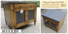 Vintage retro yellow and grey solid wood end table/night stand made by Back In The Day Vintage of Spring, TX