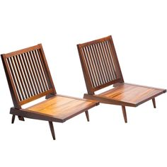 Pair of Spindle Back Lounge Chairs by George Nakashima | From a unique collection of antique and modern lounge chairs at https://www.1stdibs.com/furniture/seating/lounge-chairs/