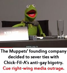 "Since the Muppets' founding company decided to sever ties with Chick-Fil-A and their anti-gay stance, the right-wing media has attacked the Muppets relentlessly as being ""heterophobic, anti-diversity, anti-inclusive bigots"" and against family and Christian values."