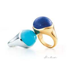 Elsa Peretti® Cabochon rings in sterling silver with turquoise and in 18k gold with lapis lazuli. #ElsaPeretti #TiffanyPinterest #TiffanyAndCo #Ring #Blue