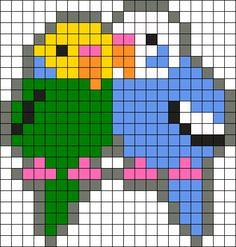 Parakeet Lovers Perler Bead Pattern / Bead Sprite