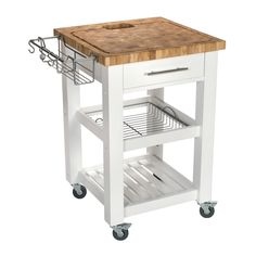 Chris & Chris Pro Chef Kitchen Cart W/ Butcher Block Top Kitchen Island On Wheels, Kitchen Cart, Small Kitchen, Kitchen Work Station, Kitchen, Kitchen Remodel, Kitchen Dining Furniture, Rolling Kitchen Island, White Kitchen Island