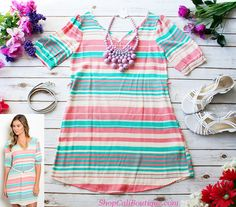 Cali Boutique | FREE U.S. shipping | Soft Stripes Dress in Mint & Pink, Spring Fling Necklace in Purple, shoes not for sale |