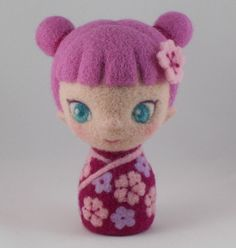 Needle Felted Art Doll Kokeshi Doll Pink by StevenShipmanArts, $98.00