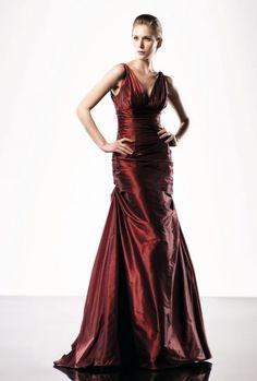 Mermaid V-neck Sleeveless Ruched Bodice Taffeta Evening Dress-soe0032, $180.95