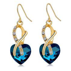 Luxury Aaa Cubic Zirconia Pendientes Fashion Jewelry Earrings Gold Color  Crystal Heart Drop Earrings For Women 2f1f88f1a5f5