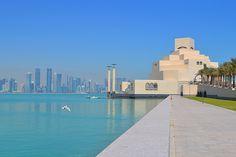 Qatar, Islamic Art Museum Doha on the waters edge