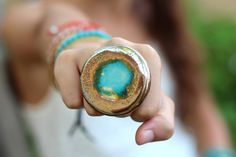 Cocktail ring Ceramic jewelry Statement ring by BohoChicChic, $32.00