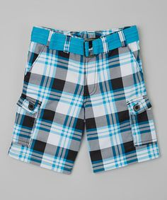 Look what I found on #zulily! Mick Mack Black & Blue Plaid Belted Shorts - Toddler & Boys by Mick Mack #zulilyfinds
