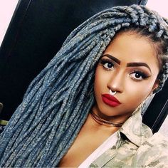 #repost #inspiration #haircolor ON FLEEK EVERYTHING Grey blue braids and face…