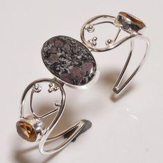 Heena Jasper & Citrine .925 Silver  Handmade Bangle Cuff Jewelry R1435