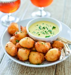 Manchego Cheese Fritters with Honey Mustard Ranch are the perfect appetizer recipe for any party occasion!   www.cookingandbeer.com