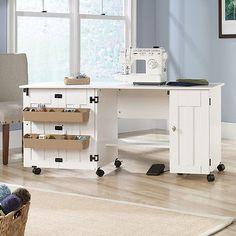 Sewing Machine Table Cabinet Craft Storage Desk Dresser Drop Leaf Bins White