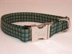 Green Plaid Dog & Cat Collars by Swanky Pet