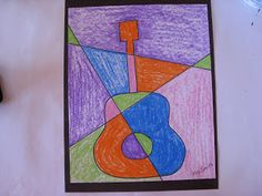 ART with Mrs. Smith: Picasso and Guitars - How to draw a cubist guitar