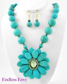 Flower Turquoise Stone Olivine Glass & Crystal Necklace & Earrings